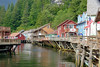 Creek Street is a historic boardwalk perched on pilings along the banks of Ketchikan Creek in Ketchikan, Alaska