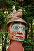 Details of Man wearing Bear Hat pole, a Tlingit grave marker at Totem Bight State Historical Park